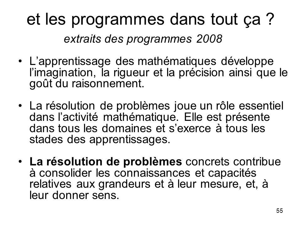 55 et les programmes dans tout ça ? extraits des programmes 2008 L'apprentissage des mathématiques développe l'imagination, la rigueur et la précision