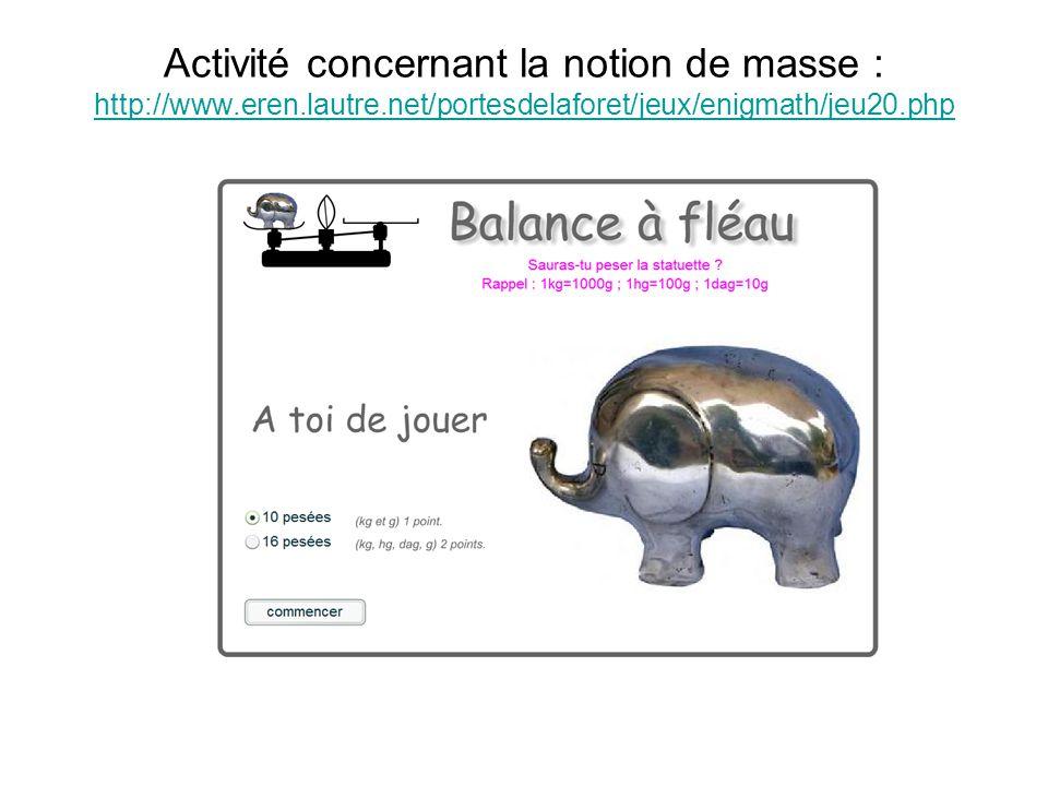Activité concernant la notion de masse : http://www.eren.lautre.net/portesdelaforet/jeux/enigmath/jeu20.php http://www.eren.lautre.net/portesdelaforet/jeux/enigmath/jeu20.php