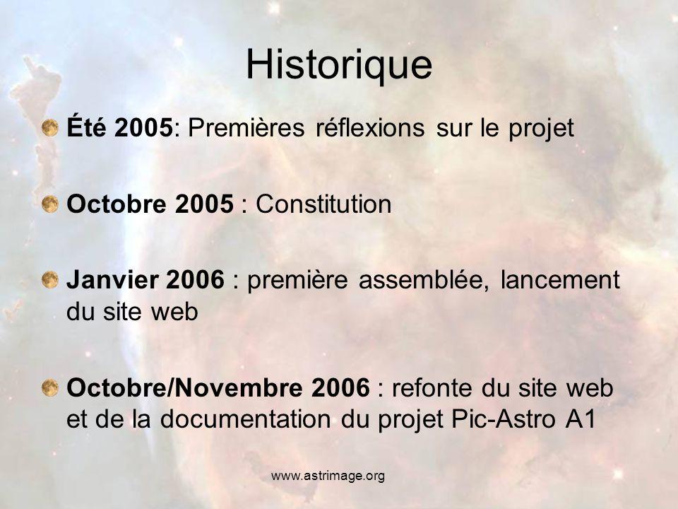 www.astrimage.org Historique Été 2005: Premières réflexions sur le projet Octobre 2005 : Constitution Janvier 2006 : première assemblée, lancement du site web Octobre/Novembre 2006 : refonte du site web et de la documentation du projet Pic-Astro A1