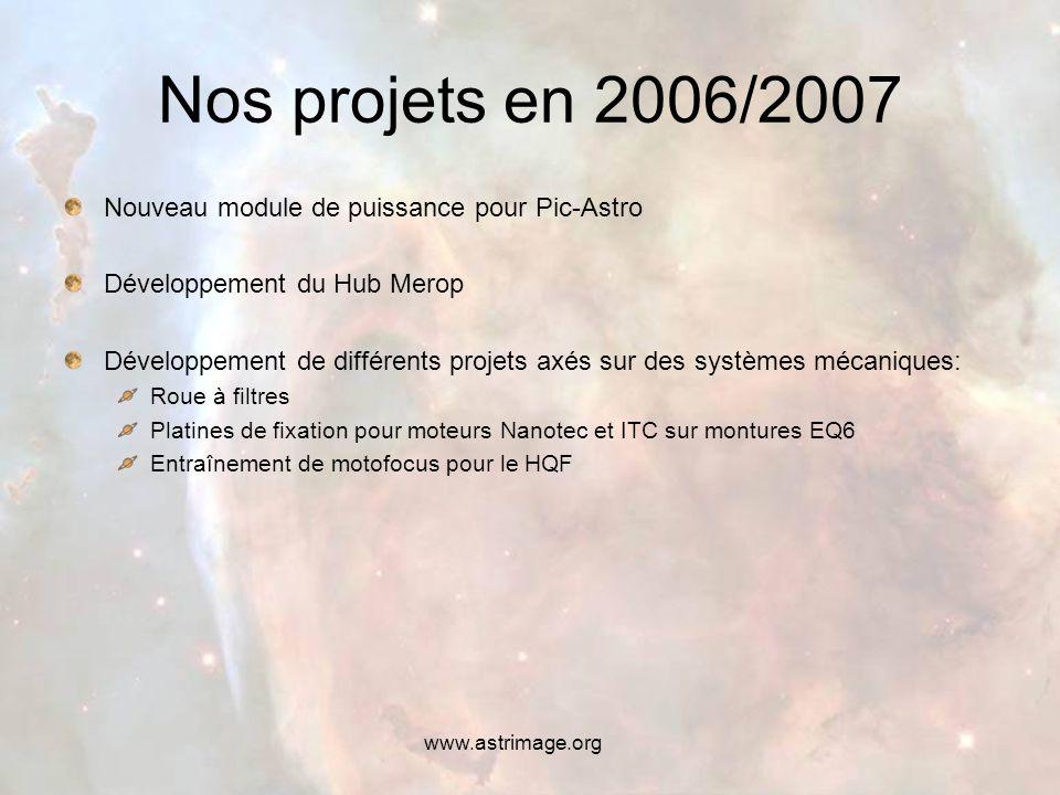 www.astrimage.org Nos projets en 2006/2007 Nouveau module de puissance pour Pic-Astro Développement du Hub Merop Développement de différents projets axés sur des systèmes mécaniques: Roue à filtres Platines de fixation pour moteurs Nanotec et ITC sur montures EQ6 Entraînement de motofocus pour le HQF