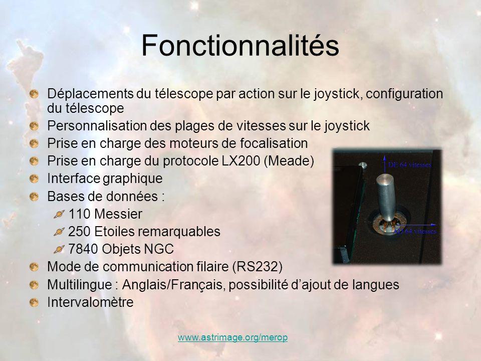 www.astrimage.org/merop Fonctionnalités Déplacements du télescope par action sur le joystick, configuration du télescope Personnalisation des plages d