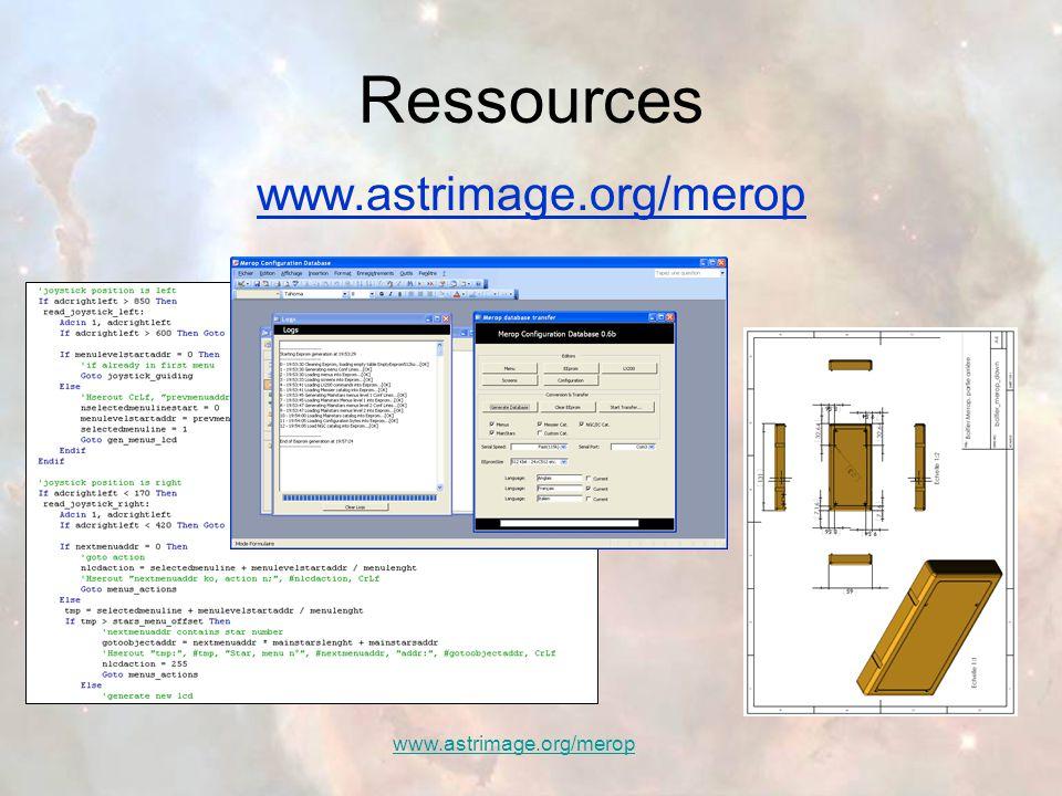 Coût de réalisation Toutes les informations sont sur le site d'Astrimage: www.astrimage.org