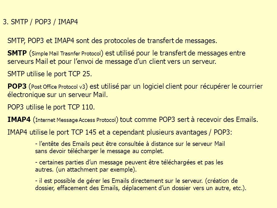 3. SMTP / POP3 / IMAP4 SMTP, POP3 et IMAP4 sont des protocoles de transfert de messages.