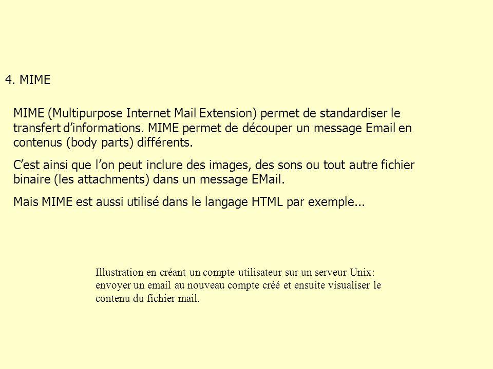4. MIME MIME (Multipurpose Internet Mail Extension) permet de standardiser le transfert d'informations. MIME permet de découper un message Email en co