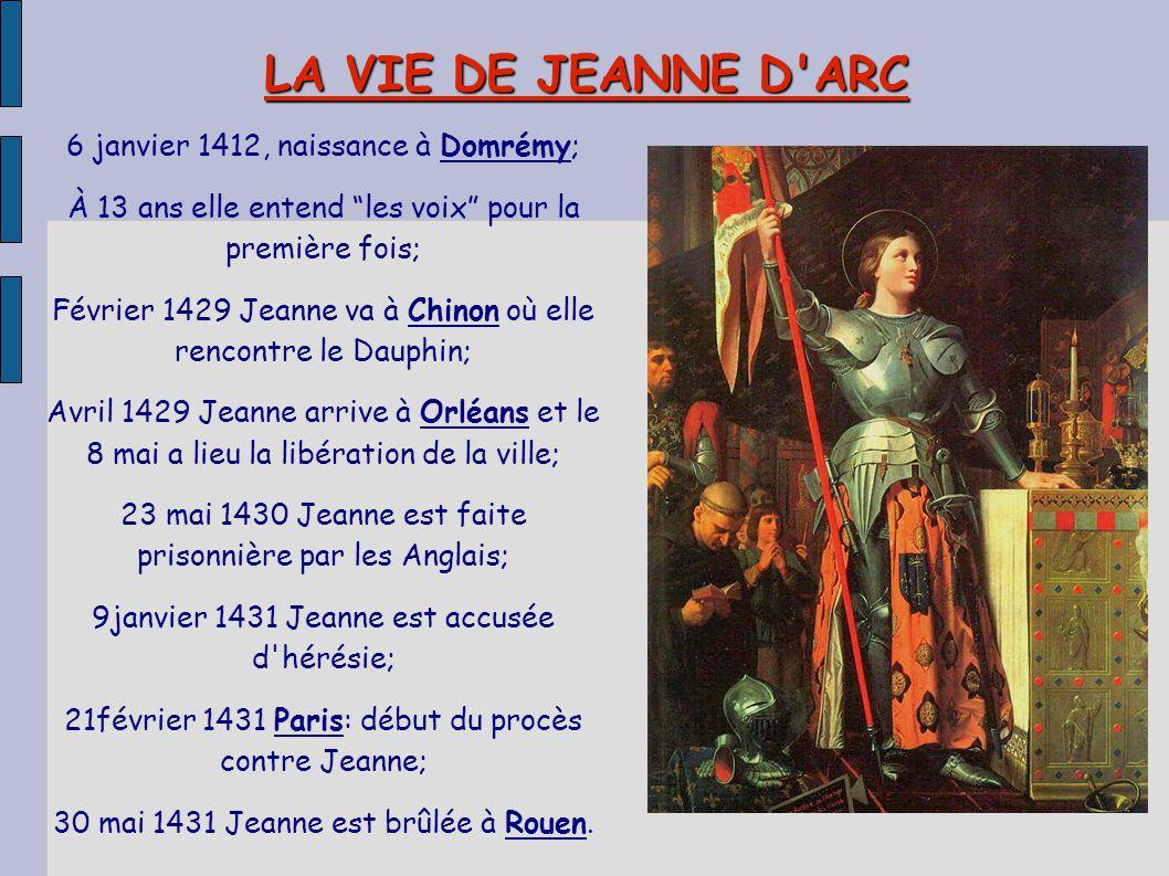 """LA VIE DE JEANNE D'ARC 6 janvier 1412, naissance à Domrémy; À 13 ans elle entend """"les voix"""" pour la première fois; Février 1429 Jeanne va à Chinon où"""
