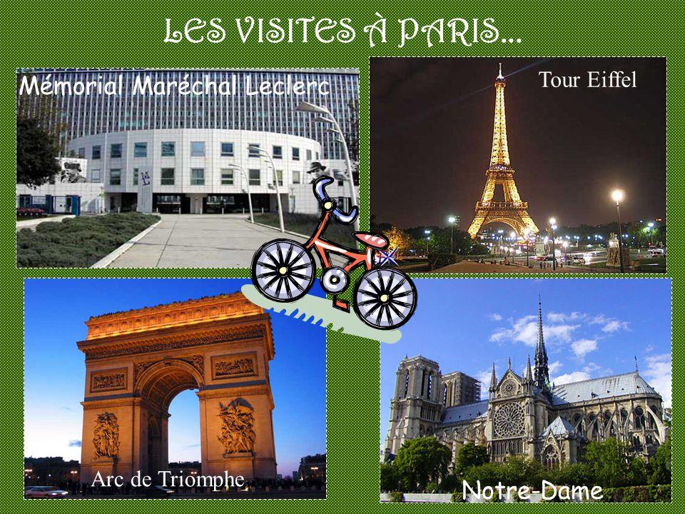 LES VISITES À PARIS... Mémorial Maréchal Leclerc Notre-Dame Tour Eiffel Arc de Triomphe