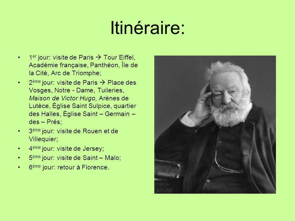 Itinéraire: 1 er jour: visite de Paris  Tour Eiffel, Académie française, Panthéon, Île de la Cité, Arc de Triomphe; 2 ème jour: visite de Paris  Pla