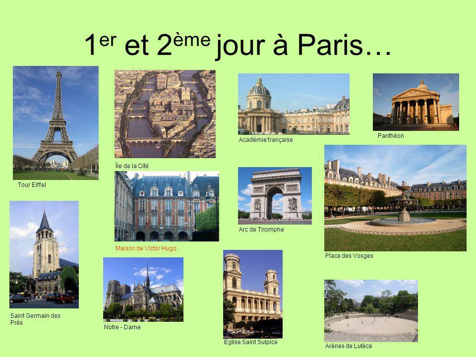 1 er et 2 ème jour à Paris… Tour Eiffel Île de la Cité Académie française Panthéon Saint Germain des Prés Maison de Victor Hugo Notre - Dame Arc de Triomphe Place des Vosges Église Saint Sulpice Arènes de Lutèce