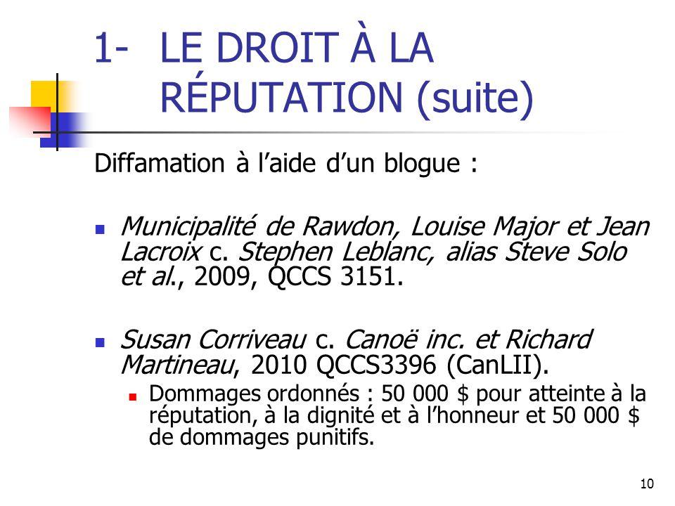10 1-LE DROIT À LA RÉPUTATION (suite) Diffamation à l'aide d'un blogue : Municipalité de Rawdon, Louise Major et Jean Lacroix c. Stephen Leblanc, alia