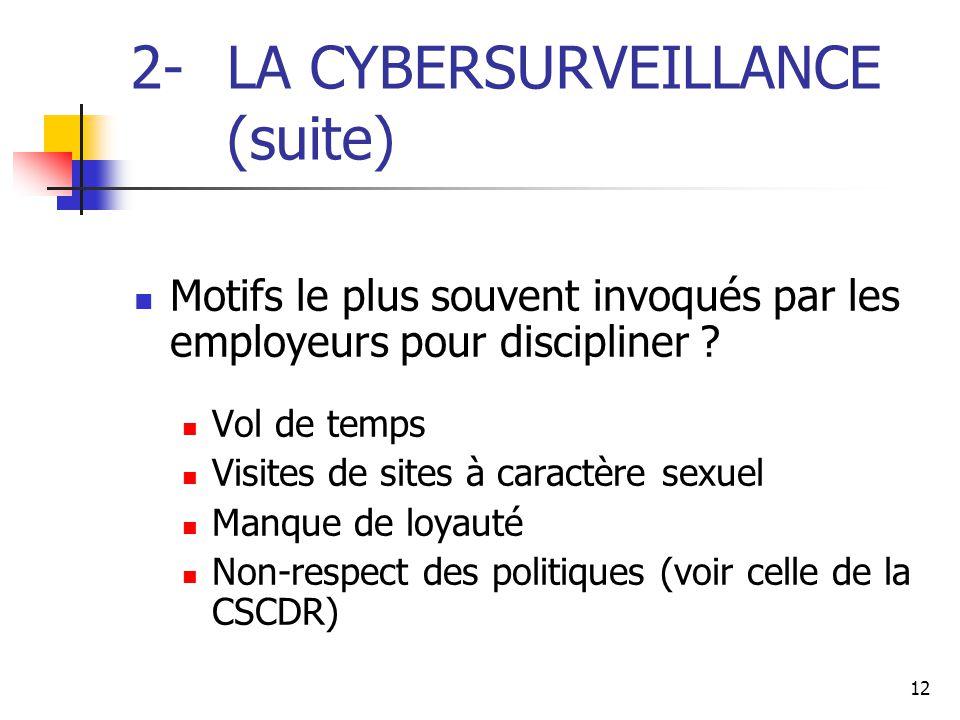 12 2- LA CYBERSURVEILLANCE (suite) Motifs le plus souvent invoqués par les employeurs pour discipliner ? Vol de temps Visites de sites à caractère sex