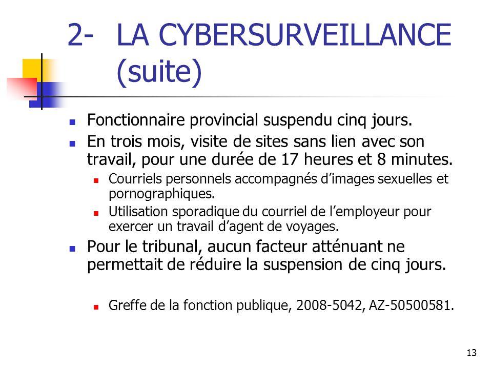 13 2- LA CYBERSURVEILLANCE (suite) Fonctionnaire provincial suspendu cinq jours. En trois mois, visite de sites sans lien avec son travail, pour une d