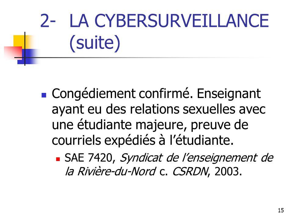 15 2- LA CYBERSURVEILLANCE (suite) Congédiement confirmé. Enseignant ayant eu des relations sexuelles avec une étudiante majeure, preuve de courriels