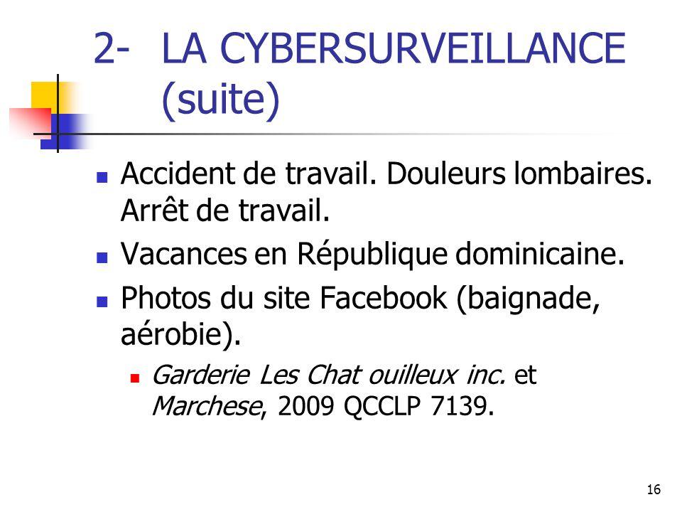 16 2- LA CYBERSURVEILLANCE (suite) Accident de travail. Douleurs lombaires. Arrêt de travail. Vacances en République dominicaine. Photos du site Faceb
