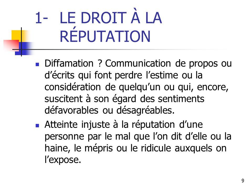 9 1-LE DROIT À LA RÉPUTATION Diffamation ? Communication de propos ou d'écrits qui font perdre l'estime ou la considération de quelqu'un ou qui, encor