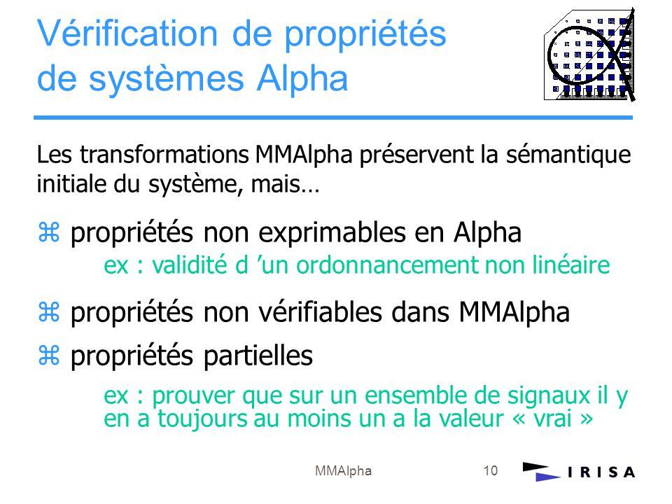 MMAlpha10 Les transformations MMAlpha préservent la sémantique initiale du système, mais… z propriétés non exprimables en Alpha ex : validité d 'un or