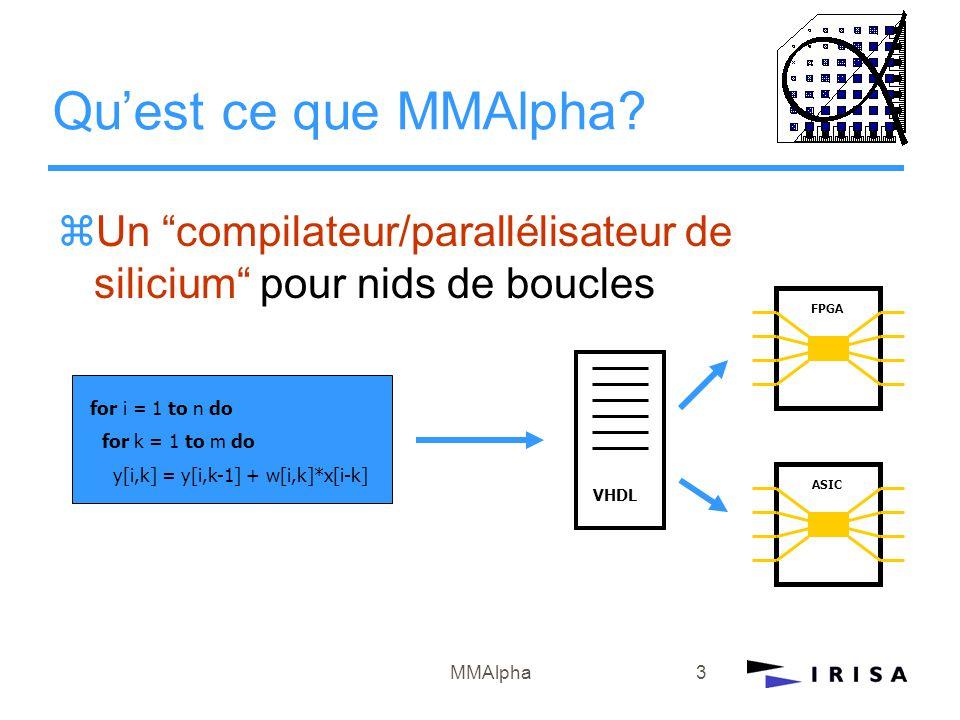 """MMAlpha3 Qu'est ce que MMAlpha? zUn """"compilateur/parallélisateur de silicium"""" pour nids de boucles FPGA ASIC VHDL for i = 1 to n do for k = 1 to m do"""