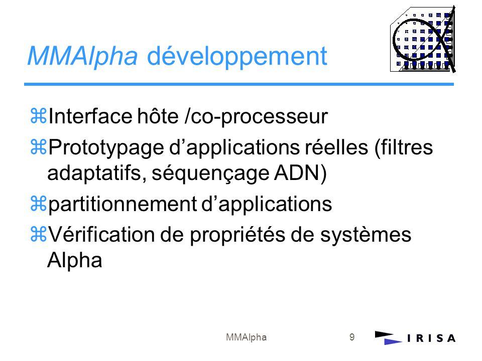 MMAlpha9 MMAlpha développement zInterface hôte /co-processeur zPrototypage d'applications réelles (filtres adaptatifs, séquençage ADN) zpartitionnemen