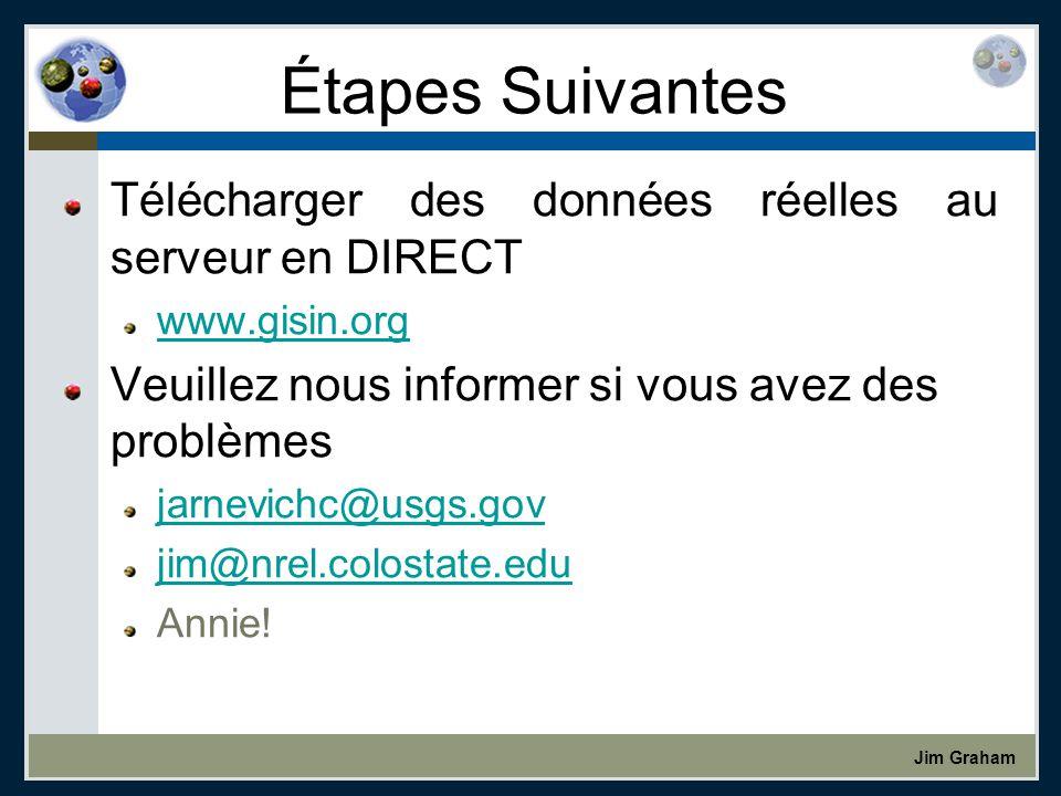 Jim Graham Étapes Suivantes Télécharger des données réelles au serveur en DIRECT www.gisin.org Veuillez nous informer si vous avez des problèmes jarnevichc@usgs.gov jim@nrel.colostate.edu Annie!
