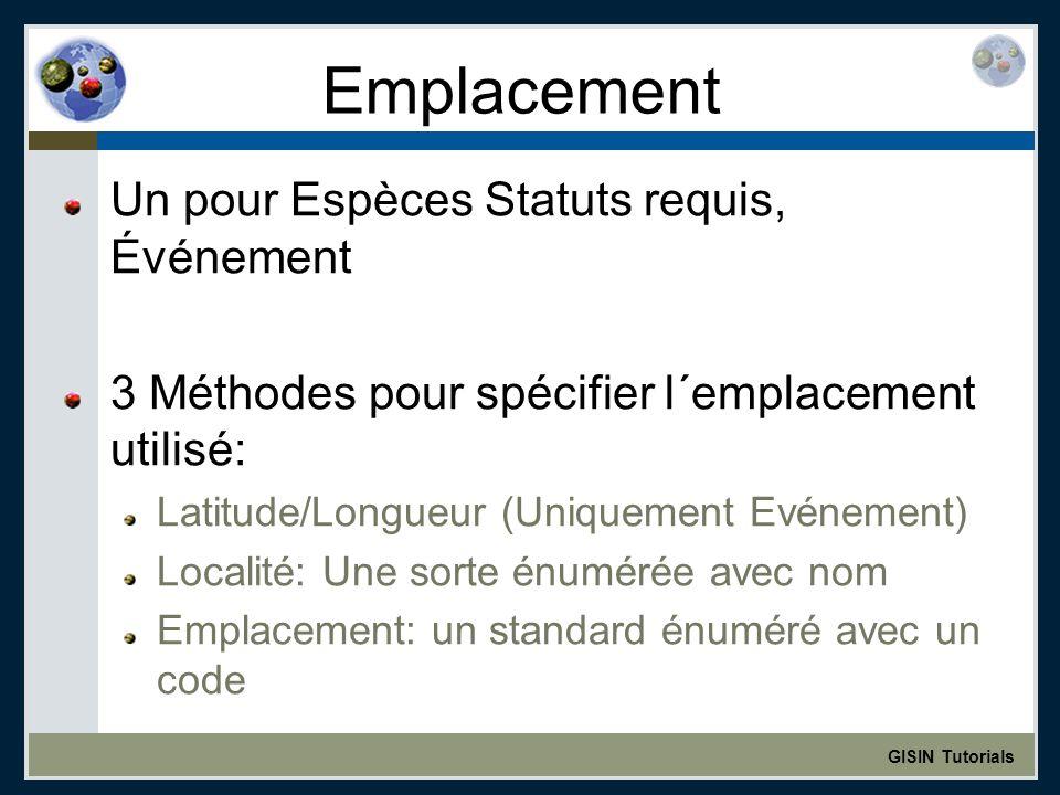 GISIN Tutorials Emplacement Un pour Espèces Statuts requis, Événement 3 Méthodes pour spécifier l´emplacement utilisé: Latitude/Longueur (Uniquement Evénement) Localité: Une sorte énumérée avec nom Emplacement: un standard énuméré avec un code