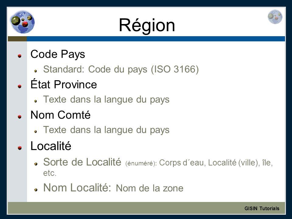 GISIN Tutorials Région Code Pays Standard: Code du pays (ISO 3166) État Province Texte dans la langue du pays Nom Comté Texte dans la langue du pays Localité Sorte de Localité (énuméré): Corps d´eau, Localité (ville), île, etc.