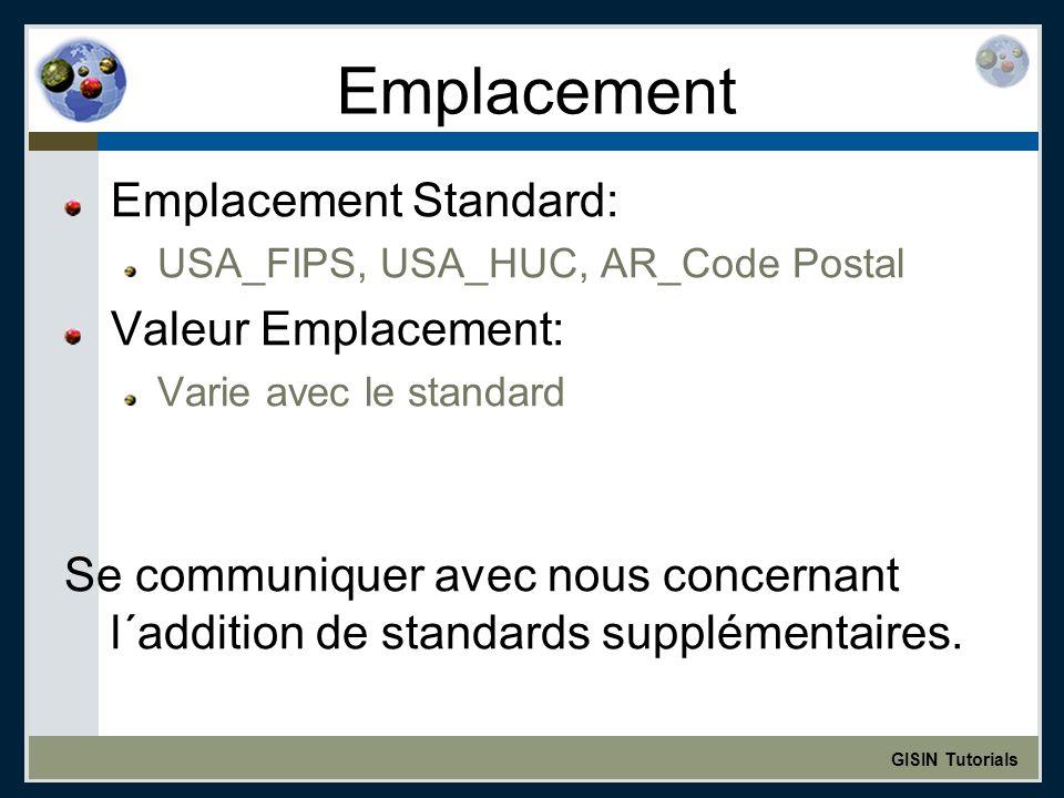 GISIN Tutorials Emplacement Emplacement Standard: USA_FIPS, USA_HUC, AR_Code Postal Valeur Emplacement: Varie avec le standard Se communiquer avec nous concernant l´addition de standards supplémentaires.