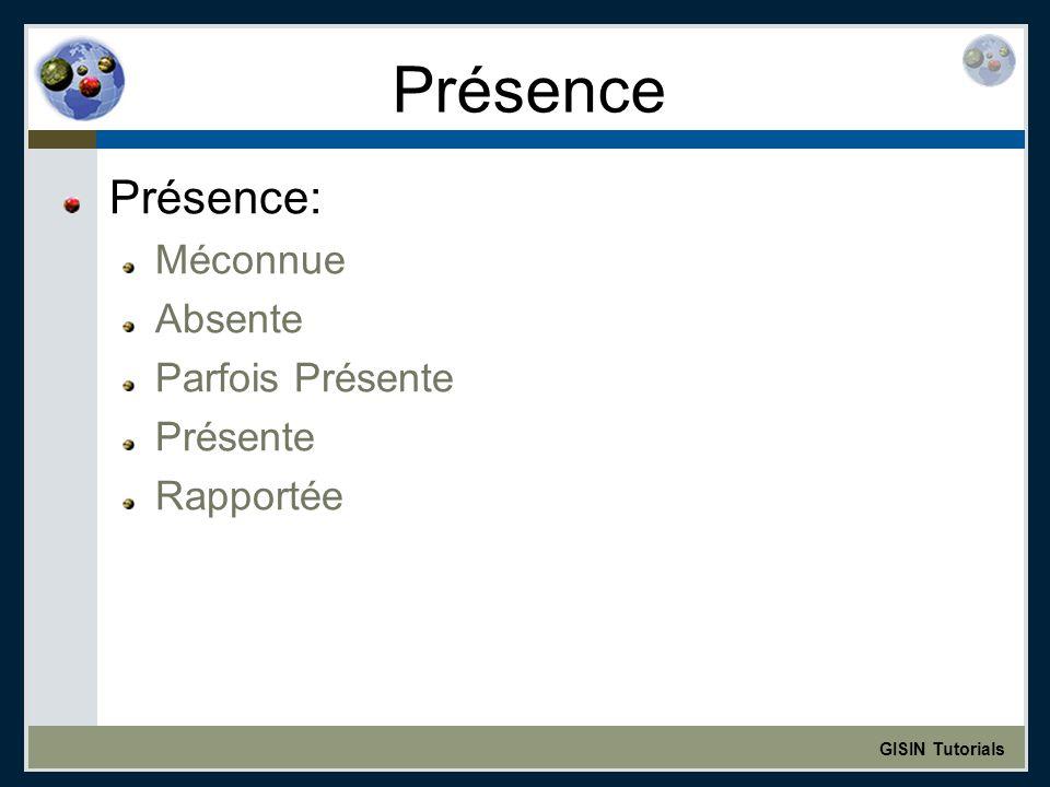 GISIN Tutorials Présence Présence: Méconnue Absente Parfois Présente Présente Rapportée