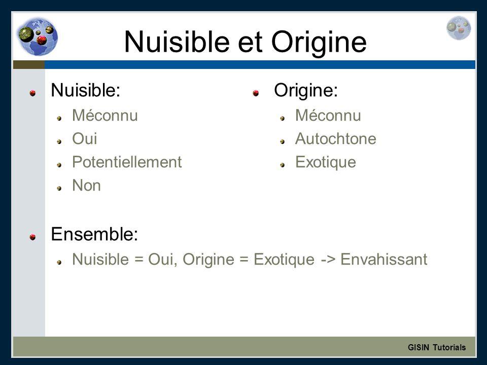 GISIN Tutorials Nuisible et Origine Nuisible: Méconnu Oui Potentiellement Non Ensemble: Nuisible = Oui, Origine = Exotique -> Envahissant Origine: Méconnu Autochtone Exotique