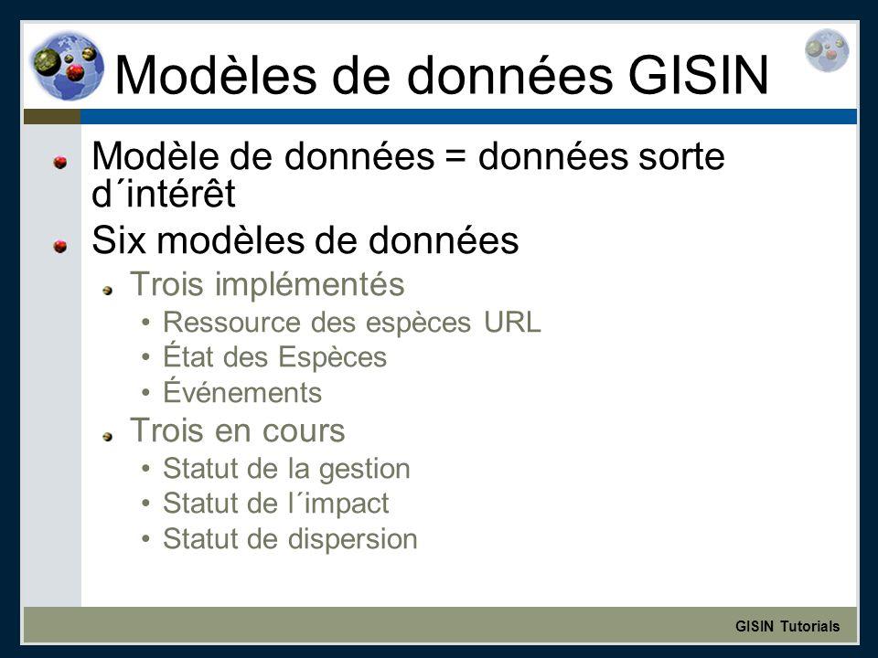 GISIN Tutorials Modèles de données GISIN Modèle de données = données sorte d´intérêt Six modèles de données Trois implémentés Ressource des espèces URL État des Espèces Événements Trois en cours Statut de la gestion Statut de l´impact Statut de dispersion