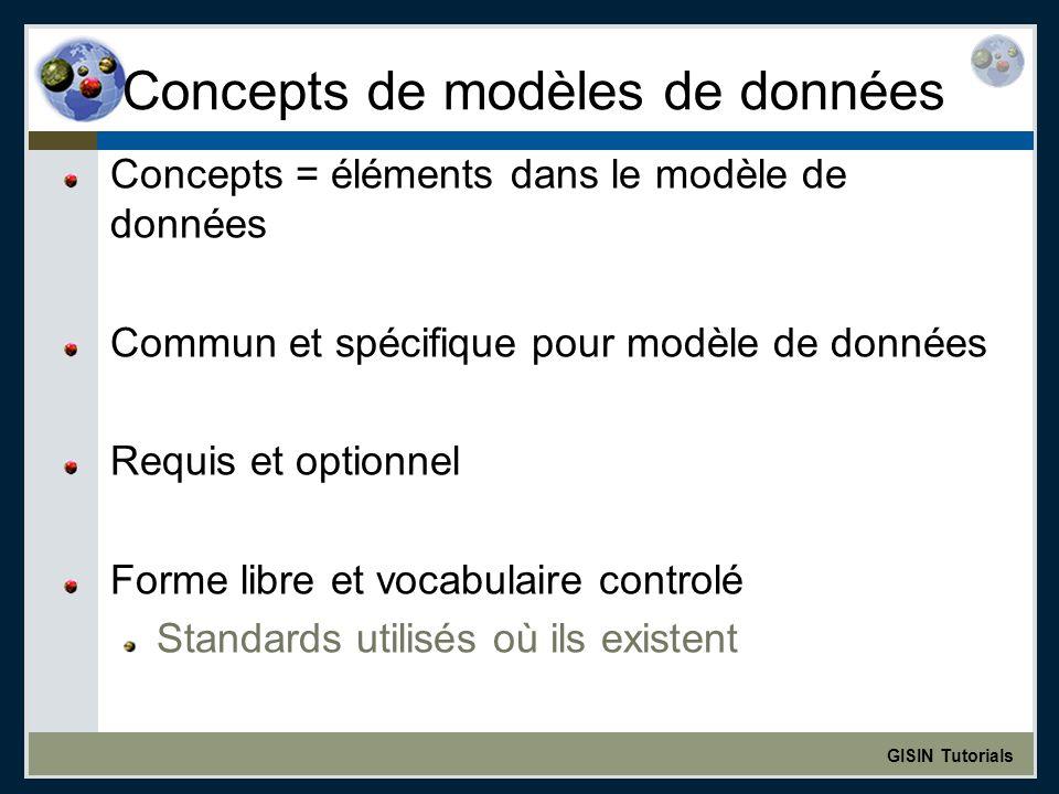 GISIN Tutorials Concepts de modèles de données Concepts = éléments dans le modèle de données Commun et spécifique pour modèle de données Requis et optionnel Forme libre et vocabulaire controlé Standards utilisés où ils existent