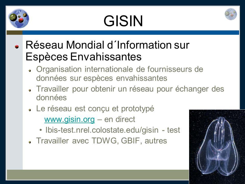 GISIN Réseau Mondial d´Information sur Espèces Envahissantes Organisation internationale de fournisseurs de données sur espèces envahissantes Travaill