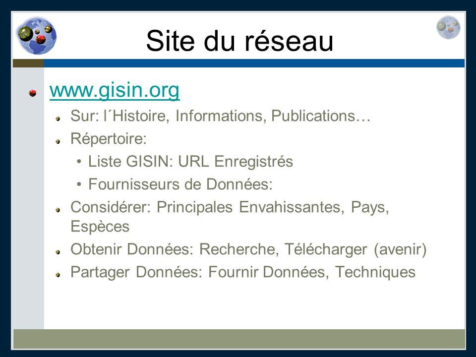 Site du réseau www.gisin.org Sur: l´Histoire, Informations, Publications… Répertoire: Liste GISIN: URL Enregistrés Fournisseurs de Données: Considérer