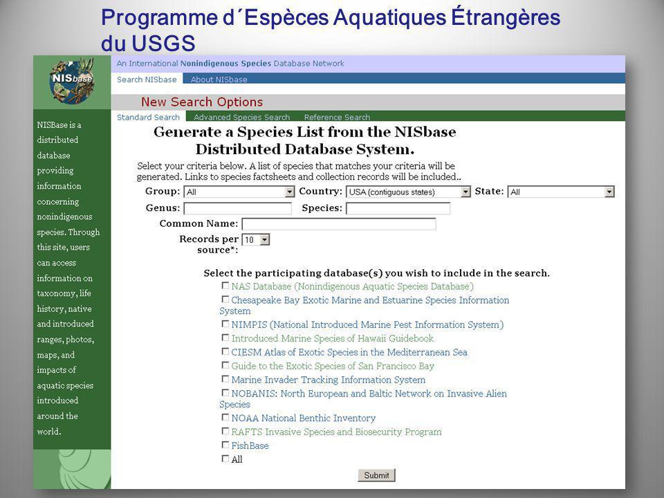 Programme d´Espèces Aquatiques Étrangères du USGS