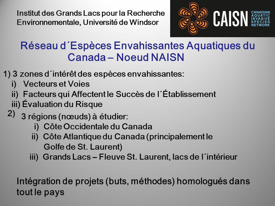 1) 3 zones d´intérêt des espèces envahissantes: i) Vecteurs et Voies ii) Facteurs qui Affectent le Succès de l´Établissement iii) Évaluation du Risque 2) Réseau d´Espèces Envahissantes Aquatiques du Canada – Noeud NAISN 3 régions (nœuds) à étudier: i) Côte Occidentale du Canada ii) Côte Atlantique du Canada (principalement le Golfe de St.