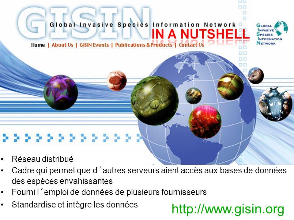 Réseau distribué Cadre qui permet que d´autres serveurs aient accès aux bases de données des espèces envahissantes Fourni l´emploi de données de plusieurs fournisseurs Standardise et intègre les données http://www.gisin.org