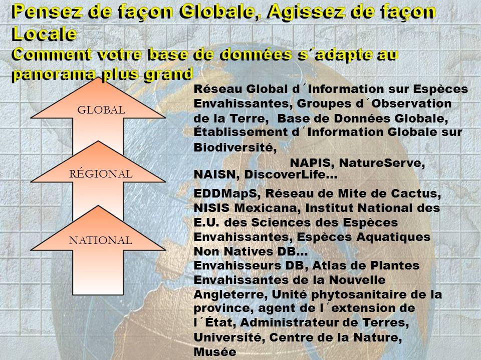 GLOBAL Réseau Global d´Information sur Espèces Envahissantes, Groupes d´Observation de la Terre, Base de Données Globale, Établissement d´Information Globale sur Biodiversité, RÉGIONAL NAPIS, NatureServe, NAISN, DiscoverLife… NATIONAL EDDMapS, Réseau de Mite de Cactus, NISIS Mexicana, Institut National des E.U.