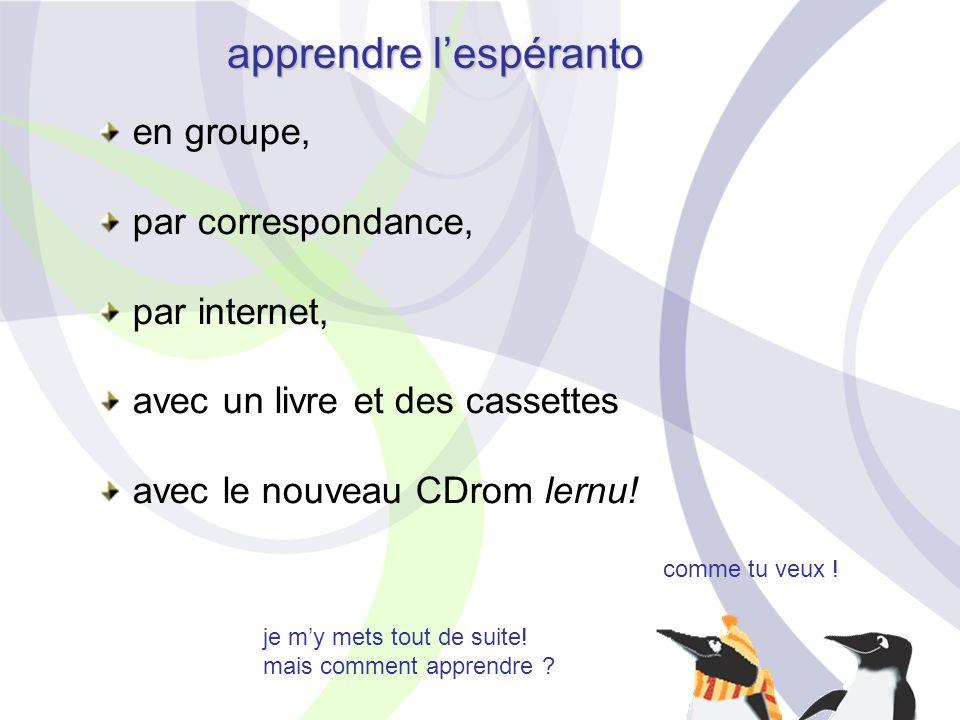je m'y mets tout de suite! mais comment apprendre ? comme tu veux ! apprendre l'espéranto en groupe, par correspondance, par internet, avec un livre e