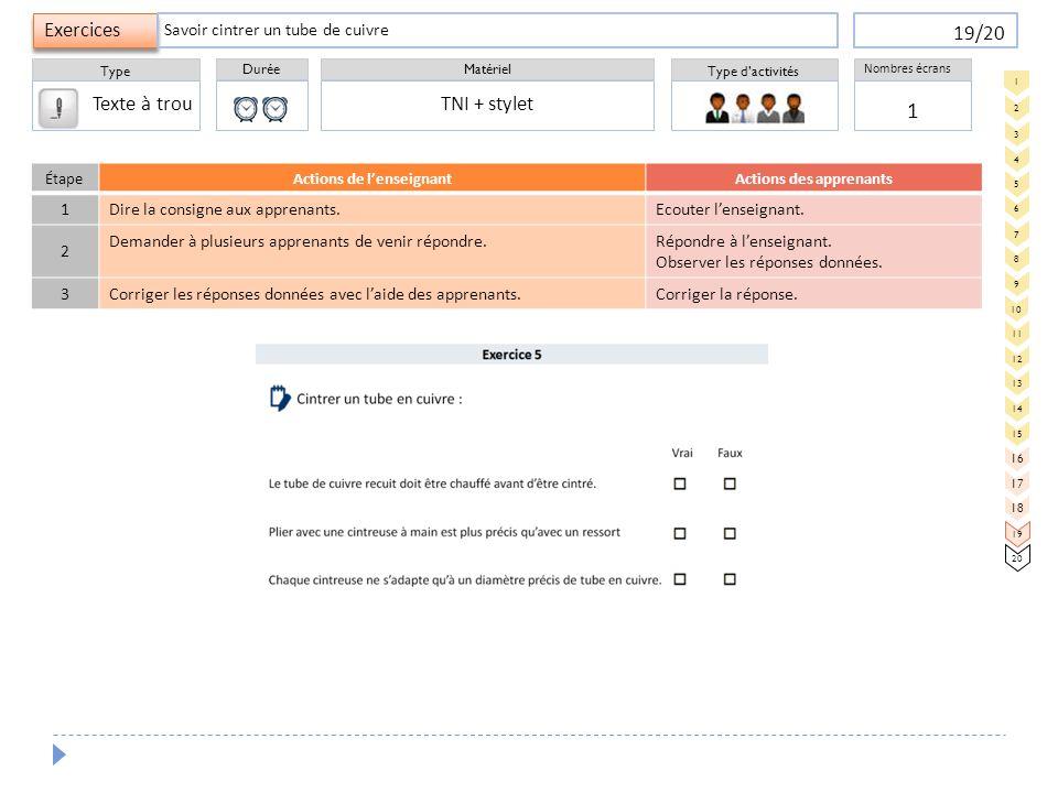 Durée Type Matériel Type d'activités Exercices Nombres écrans 19/20 ÉtapeActions de l'enseignantActions des apprenants 1 Dire la consigne aux apprenan