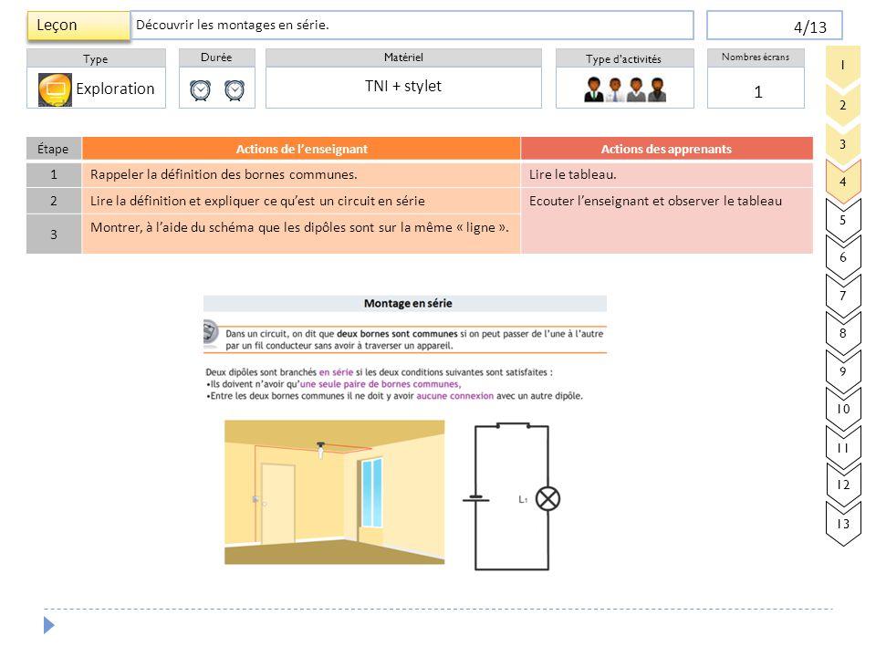 Durée Type Matériel Type d'activités Nombres écrans Leçon 4/13 1 TNI + stylet Découvrir les montages en série. 3 4 5 6 7 8 9 2 1 10 11 12 13 Explorati