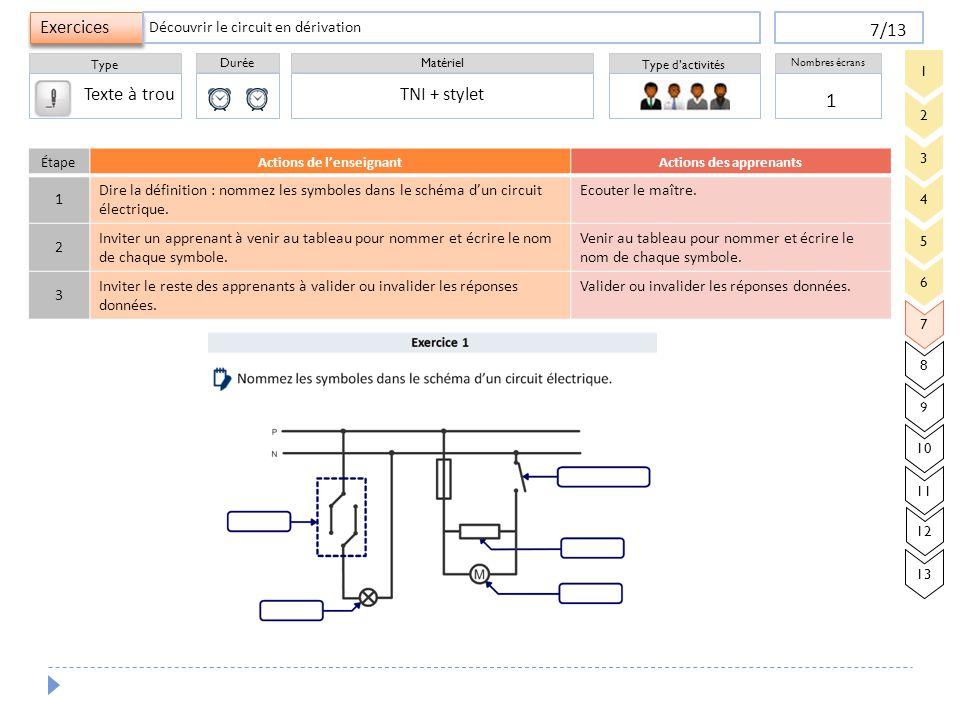 Durée Type Matériel Type d'activités Exercices Nombres écrans 7/13 1 TNI + stylet Découvrir le circuit en dérivation 3 4 5 6 7 8 9 2 1 10 11 12 13 Éta