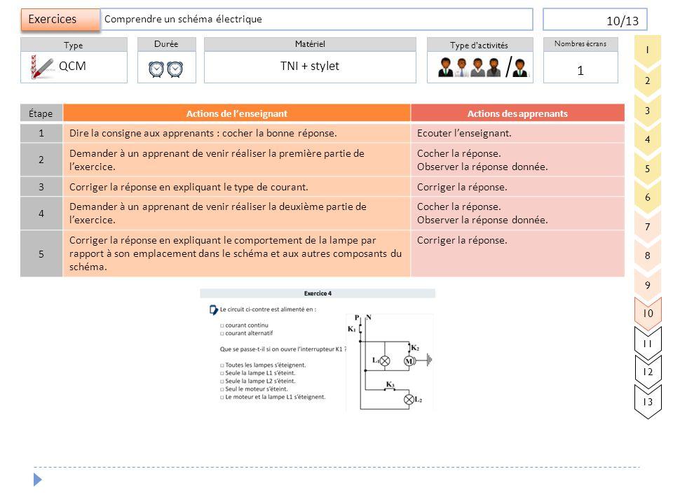 Durée Type Matériel Type d'activités Exercices Nombres écrans 10/13 ÉtapeActions de l'enseignantActions des apprenants 1 Dire la consigne aux apprenan