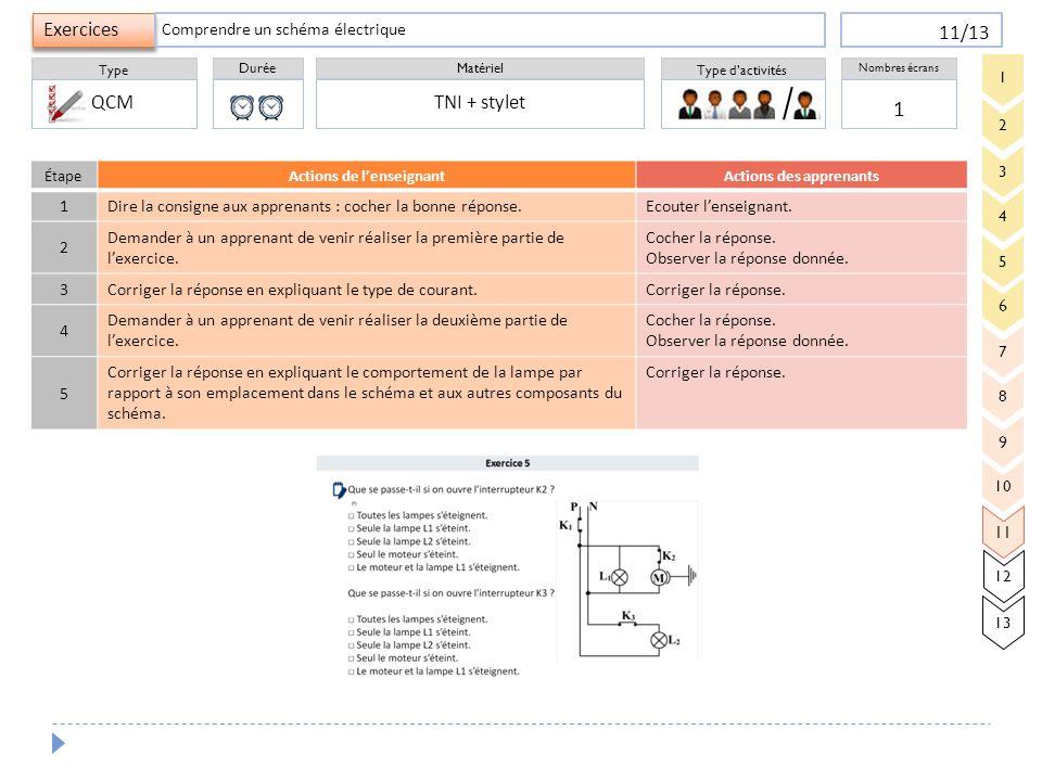 Durée Type Matériel Type d'activités Exercices Nombres écrans 11/13 ÉtapeActions de l'enseignantActions des apprenants 1 Dire la consigne aux apprenan