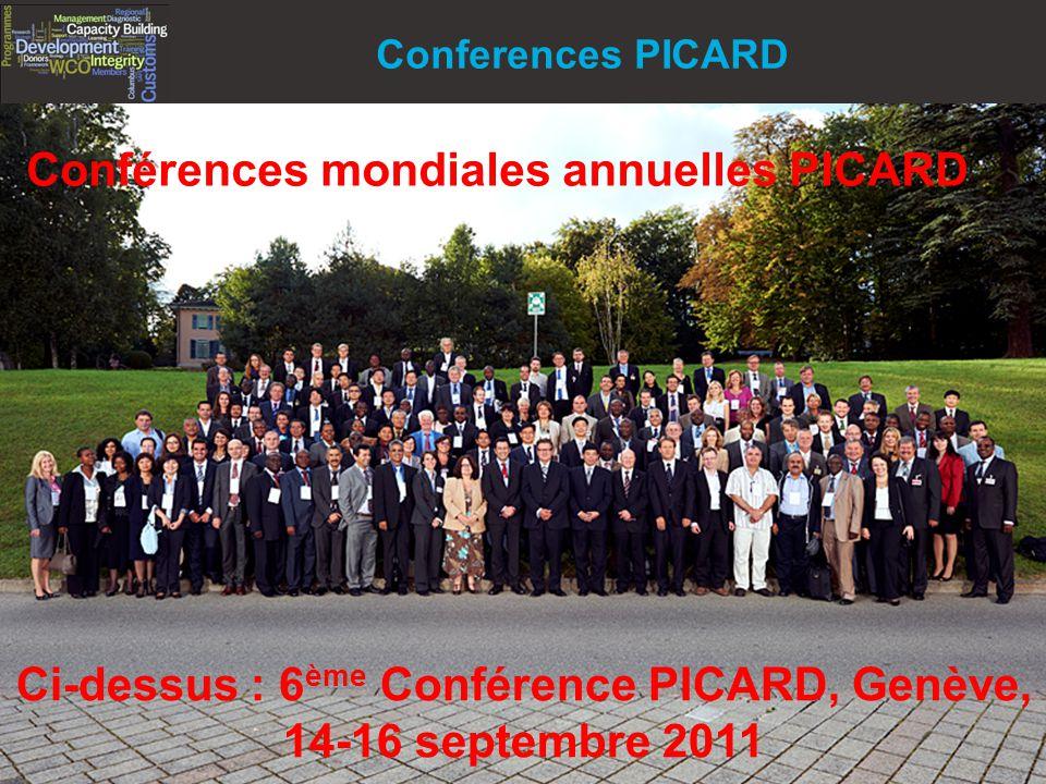 14 Copyright © WCO-OMD 2012 Conferences PICARD Ci-dessus : 6 ème Conférence PICARD, Genève, 14-16 septembre 2011 Conférences mondiales annuelles PICARD