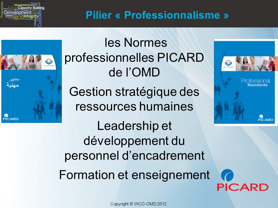 les Normes professionnelles PICARD de l'OMD Gestion stratégique des ressources humaines Leadership et développement du personnel d'encadrement Formation et enseignement Copyright © WCO-OMD 2012 Pilier « Professionnalisme »