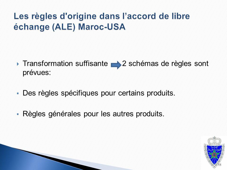  Transformation suffisante 2 schémas de règles sont prévues:  Des règles spécifiques pour certains produits.  Règles générales pour les autres prod
