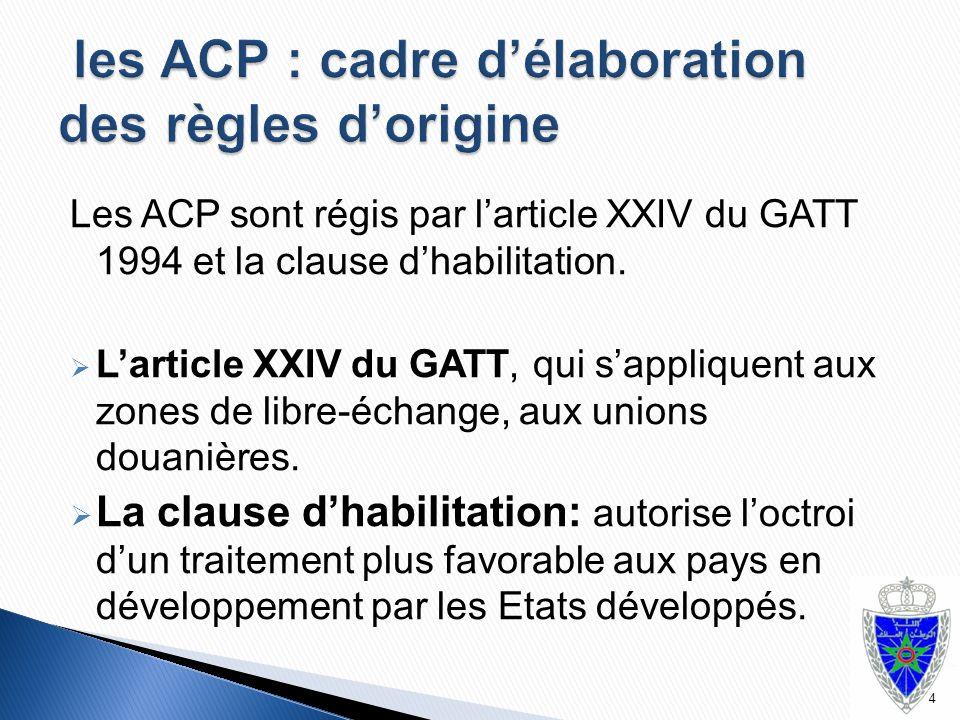 Les ACP sont régis par l'article XXIV du GATT 1994 et la clause d'habilitation.  L'article XXIV du GATT, qui s'appliquent aux zones de libre-échange,