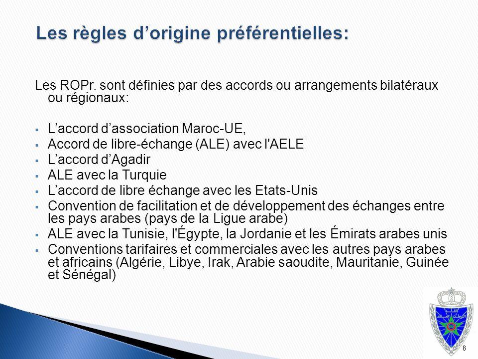 Les ROPr. sont définies par des accords ou arrangements bilatéraux ou régionaux:  L'accord d'association Maroc-UE,  Accord de libre-échange (ALE) av