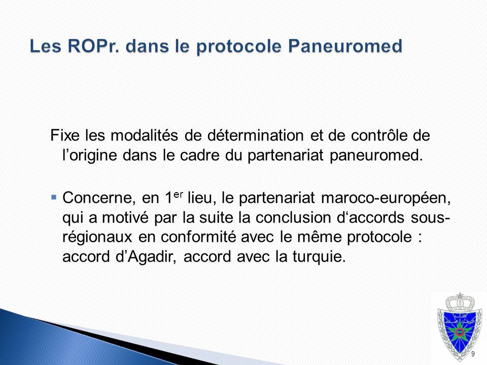 Fixe les modalités de détermination et de contrôle de l'origine dans le cadre du partenariat paneuromed.  Concerne, en 1 er lieu, le partenariat maro