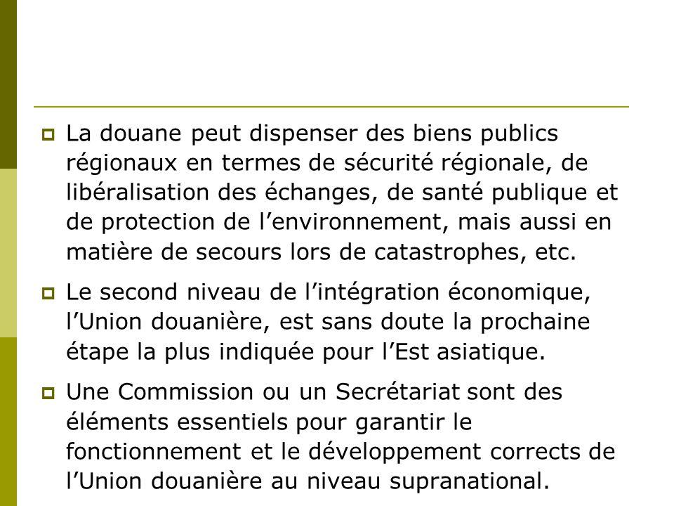  La douane peut dispenser des biens publics régionaux en termes de sécurité régionale, de libéralisation des échanges, de santé publique et de protec