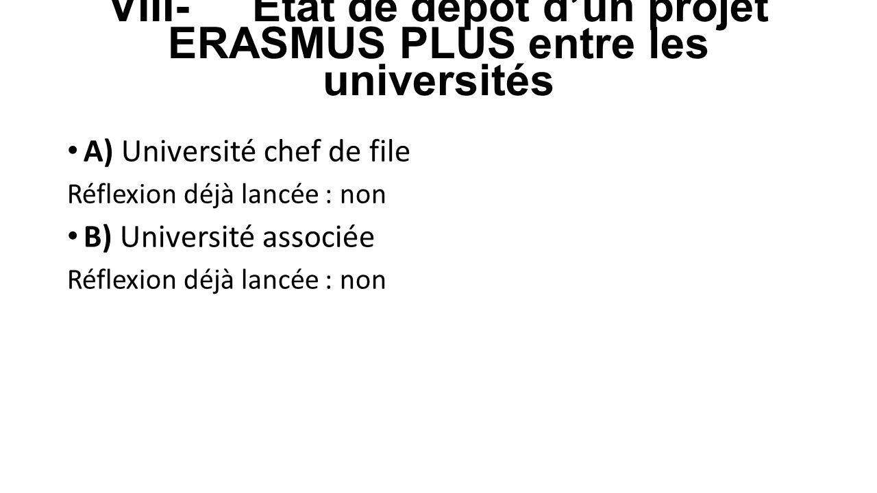 VIII- Etat de dépôt d'un projet ERASMUS PLUS entre les universités A) Université chef de file Réflexion déjà lancée : non B) Université associée Réfle