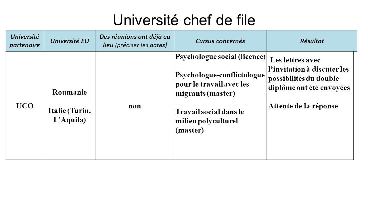 Université chef de file Université partenaire Université EU Des réunions ont déjà eu lieu (préciser les dates) Cursus concernésRésultat UCO Roumanie I